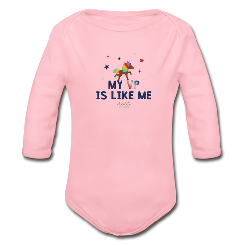 MY VP IS LIKE ME Organic Long Sleeve Baby Bodysuit - light pink