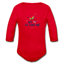 Load image into Gallery viewer, MY VP IS LIKE ME Organic Long Sleeve Baby Bodysuit - red