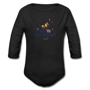 MY VP IS LIKE ME Organic Long Sleeve Baby Bodysuit - black