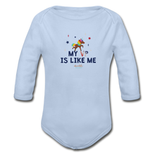 Load image into Gallery viewer, MY VP IS LIKE ME Organic Long Sleeve Baby Bodysuit - sky