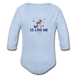 MY VP IS LIKE ME Organic Long Sleeve Baby Bodysuit - sky