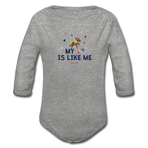 MY VP IS LIKE ME Organic Long Sleeve Baby Bodysuit - heather gray