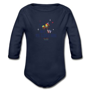MY VP IS LIKE ME Organic Long Sleeve Baby Bodysuit - dark navy