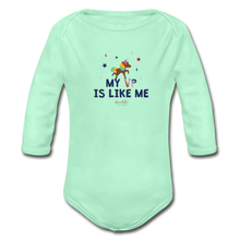 Load image into Gallery viewer, MY VP IS LIKE ME Organic Long Sleeve Baby Bodysuit - light mint