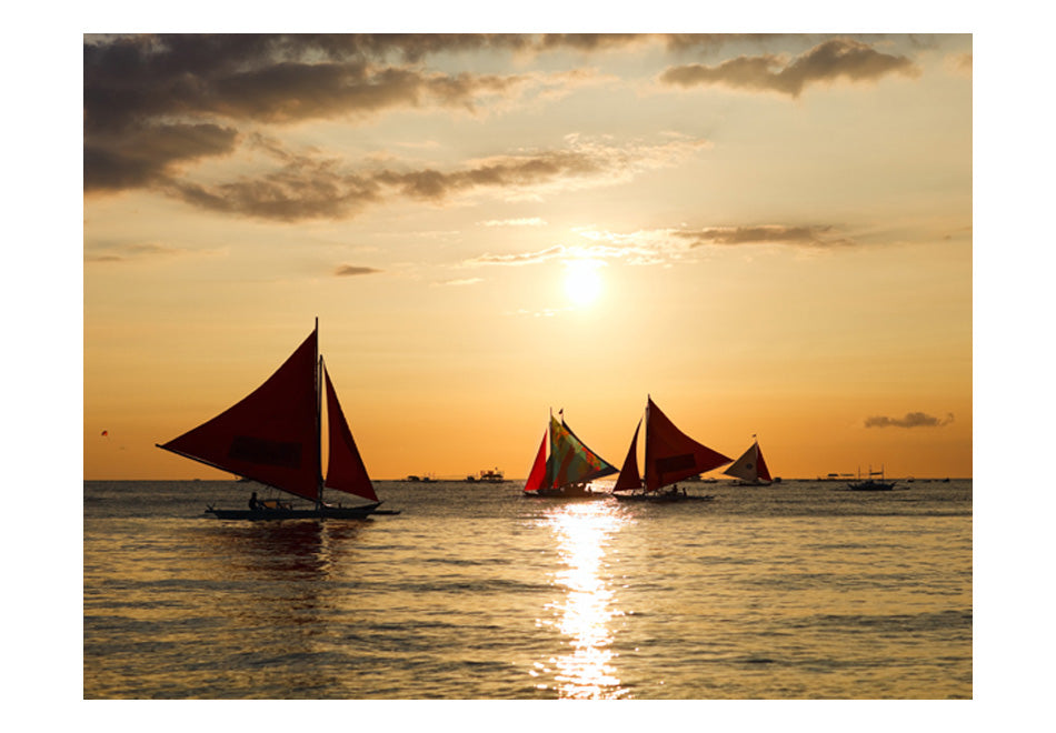 Fototapet - sailing boats - sunset
