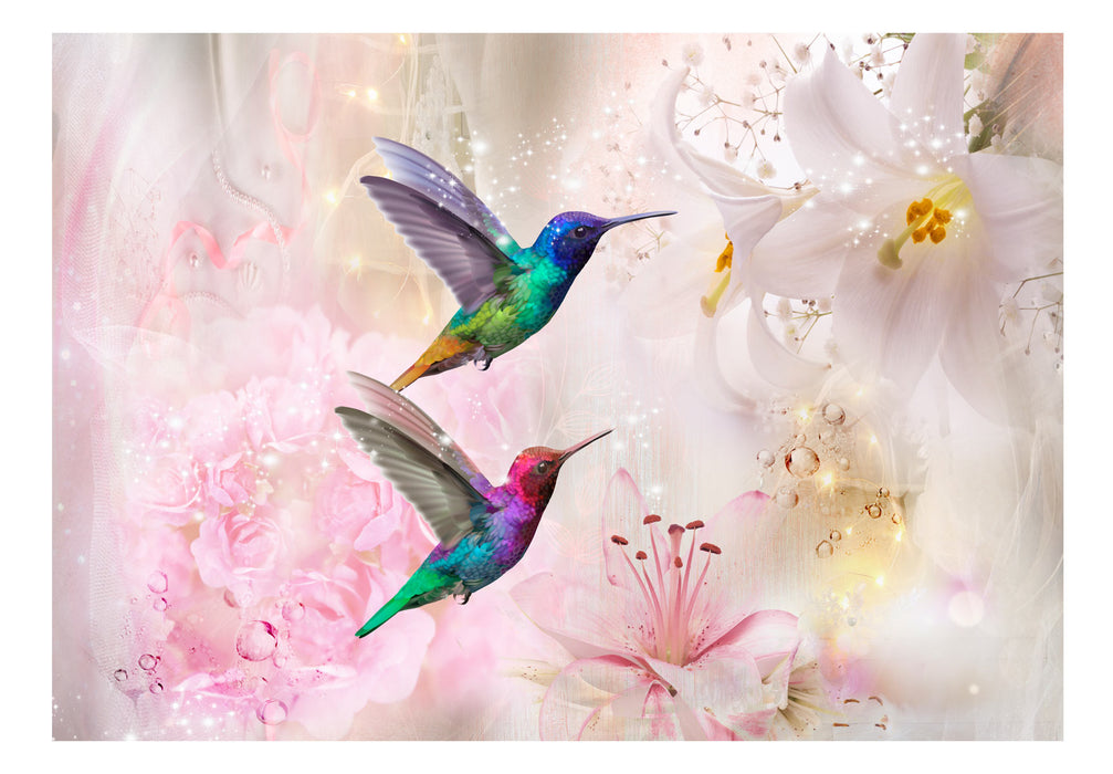 Fototapet - Colourful Hummingbirds (Pink)
