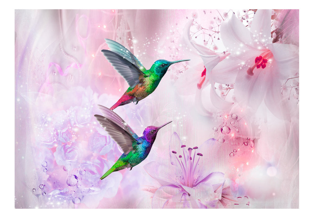 Fototapet - Colourful Hummingbirds (Purple)