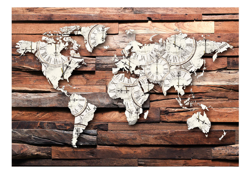 Fototapet - Map On Wood