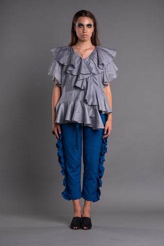 ASYMMETRIC RUFFLED BLOUSE - Afterlife Projects