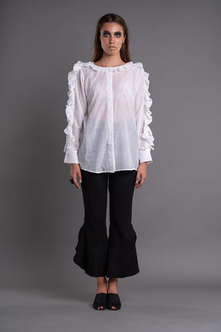 SHEER RUFFLED BLOUSE - Afterlife Projects