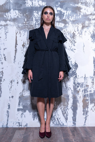 BELTED DOUBLE RUFFLED SLEEVE JACKET DRESS - Afterlife Projects