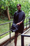 100% Linen 3/4 Sleeve Classic Dress Black
