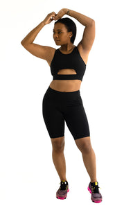 Peek-A-Boo Sports Bra and Shorts Set