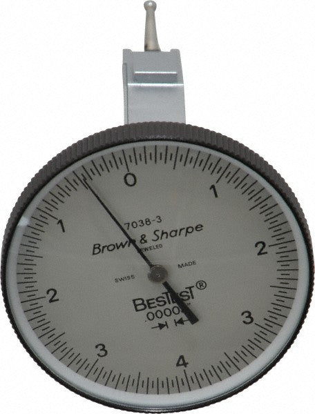 "Brown & Sharpe 599-7038-3 BesTest Dial Test Indicator Horizontal End Mount, .008"" Range, .00005"" Graduation"