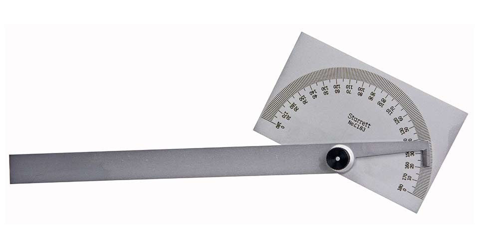 "Starrett C183 Steel Protractor, 6""/150mm Blade Length 0-180°"