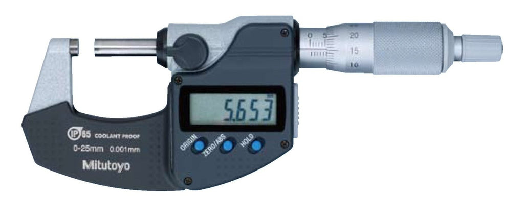 Mitutoyo 293-240-30 Coolant Proof Digimatic OD Micrometer Without SPC, 0-25mm Range, 0.001mm Resolution