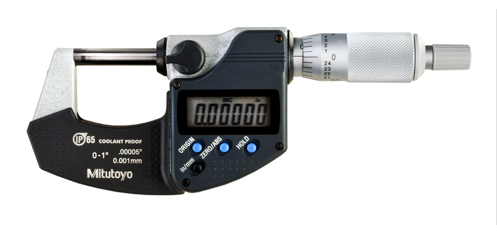 "Mitutoyo 293-340-30 Digimatic Outside Micrometer, 0-1""/0-25mm Range, .00005""/0.001mm Graduation"