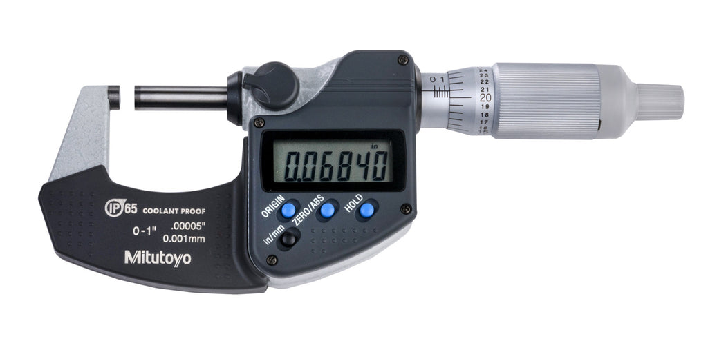 "Mitutoyo 293-344-30 Digimatic Micrometer 0-1""/0-25mm Range, .00005""/0.001mm Resolution"