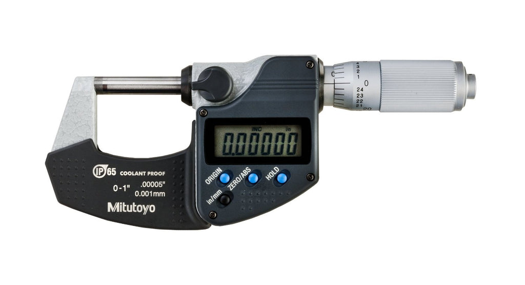 "Mitutoyo 293-348-30 Digimatic Micrometer, 0-1""/0-25mm Range, .00005""/0.001mm Resolution"