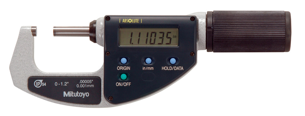 "Mitutoyo 293-676 ABSOLUTE Digimatic Micrometer, 0-1.2""/0-30.48mm Range, .00005""/0.001mm Resolution"