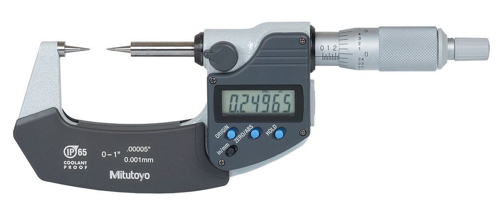 "Mitutoyo 342-361-30 Digimatic Point Micrometer, 0-1""/0-25.4mm Range, .00005""/0.001mm Resolution"