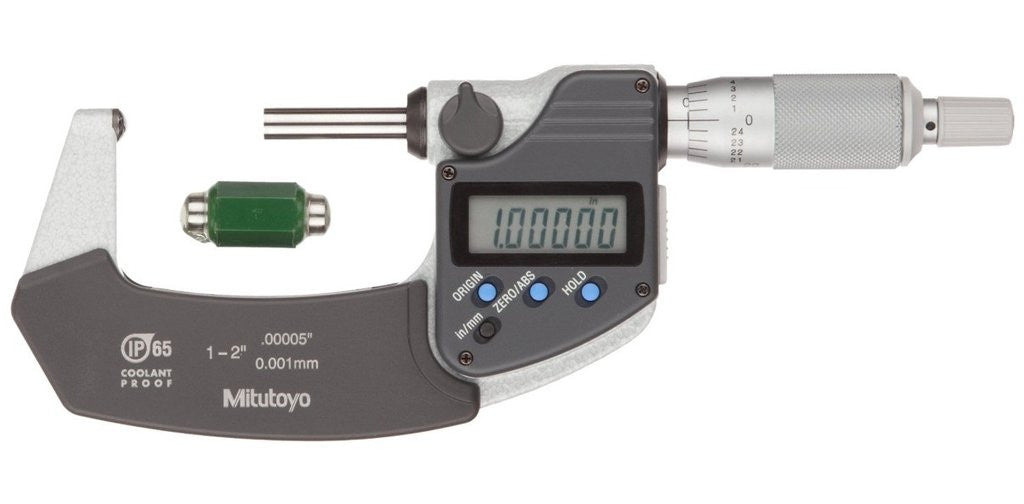 "Mitutoyo 395-352-30 Spherical Face Micrometer, 1-2"" Range, .0001"",  .00005""/0.001mm Resolution *CLEARANCE"