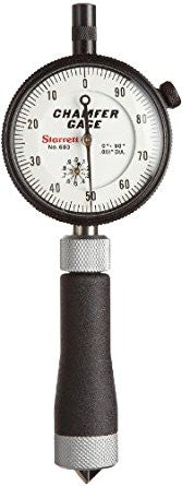 "Starrett 683-2Z Internal Dial Chamfer Gage, 0-1/2"" Range, .001"" Graduation, 0-90 Degree"