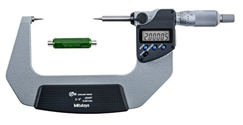 "Mitutoyo 342-353-30 Digimatic Point Micrometer, 2-3""/50.8-76.2mm Range, .00005""/0.001mm Resolution"