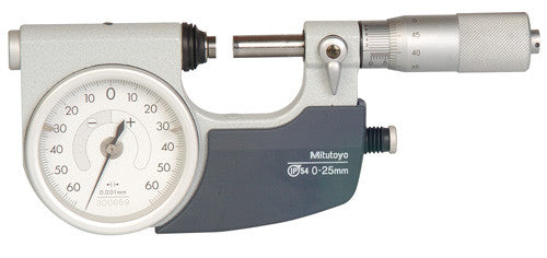 Mitutoyo 510-121 Indicating Micrometer, 0-25mm Range, 0.001mm Graduation