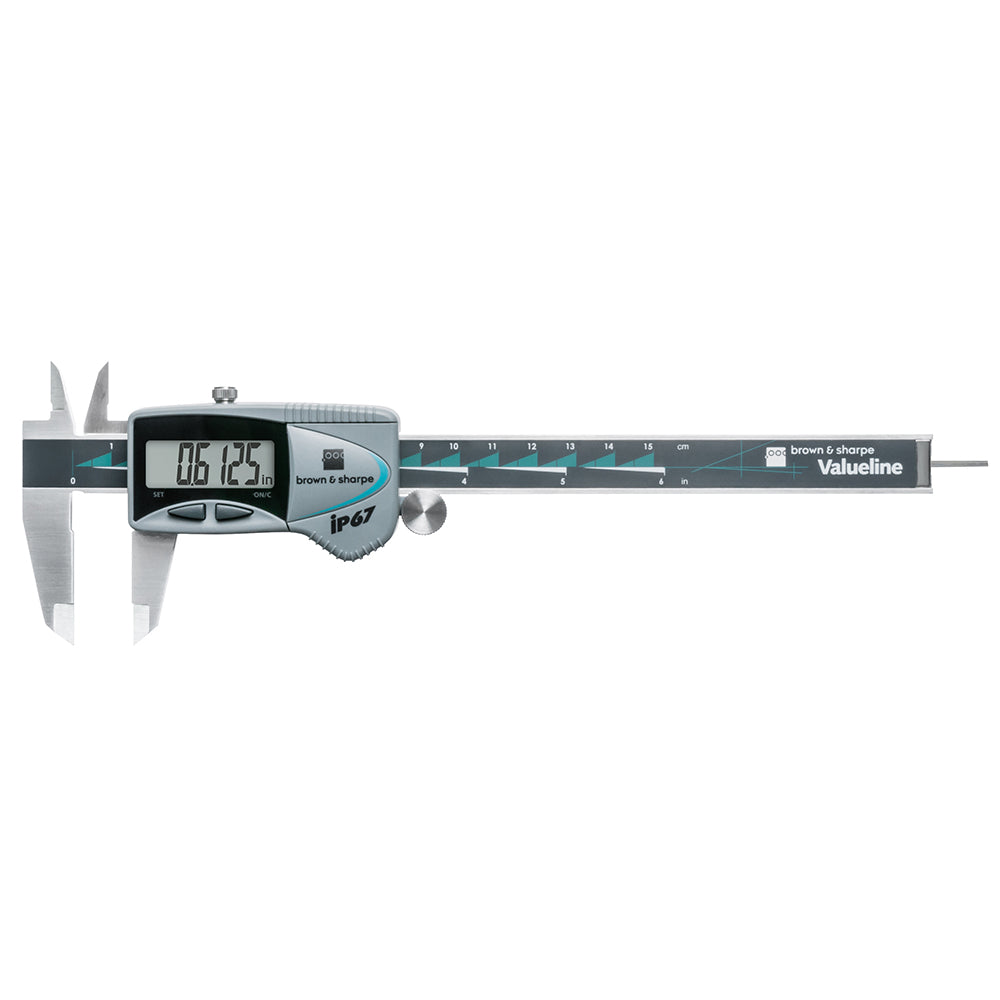 "Brown & Sharpe 00599390 Valueline IP67 Electronic Caliper 0-6""/150mm Range .0005""/0.01MM Graduation"