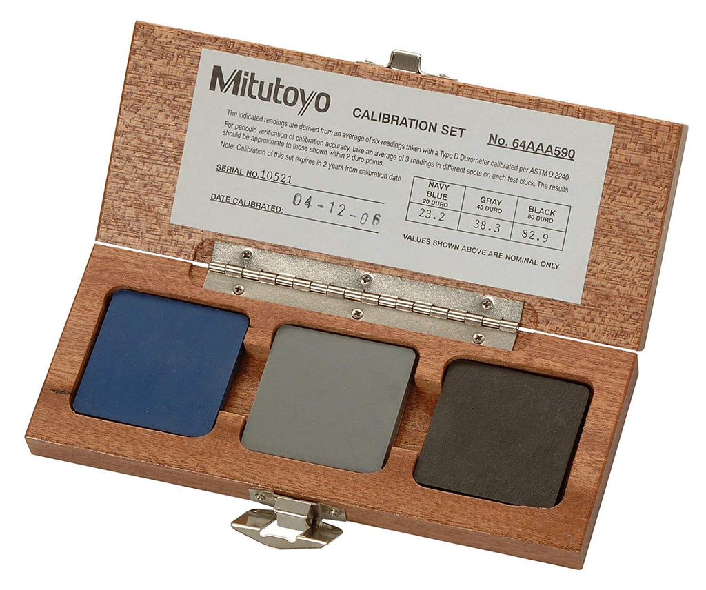 Mitutoyo 64AAA590 Calibration Set for Shore D Scales 20, 40, 80 Blocks