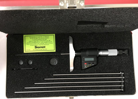 "749BZ-6RL Starrett Electronic Micrometer Depth Gage, 0-6""/0-150mm Range, .0001""/0.001mm Resolution *New-Open Box"