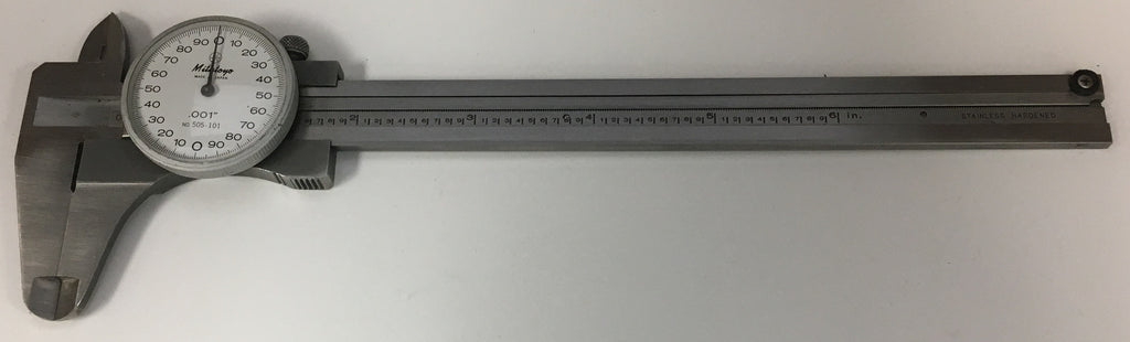 "Mitutoyo 505-101 Dial Caliper, 0-6"" Range, .001"" Graduation *USED/RECONDITIONED*"