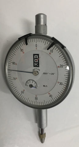 "A.O.K. No. 5 Dial Indicator, 0-.05"" Range, .0001"" Graduation *CLOSEOUT*"