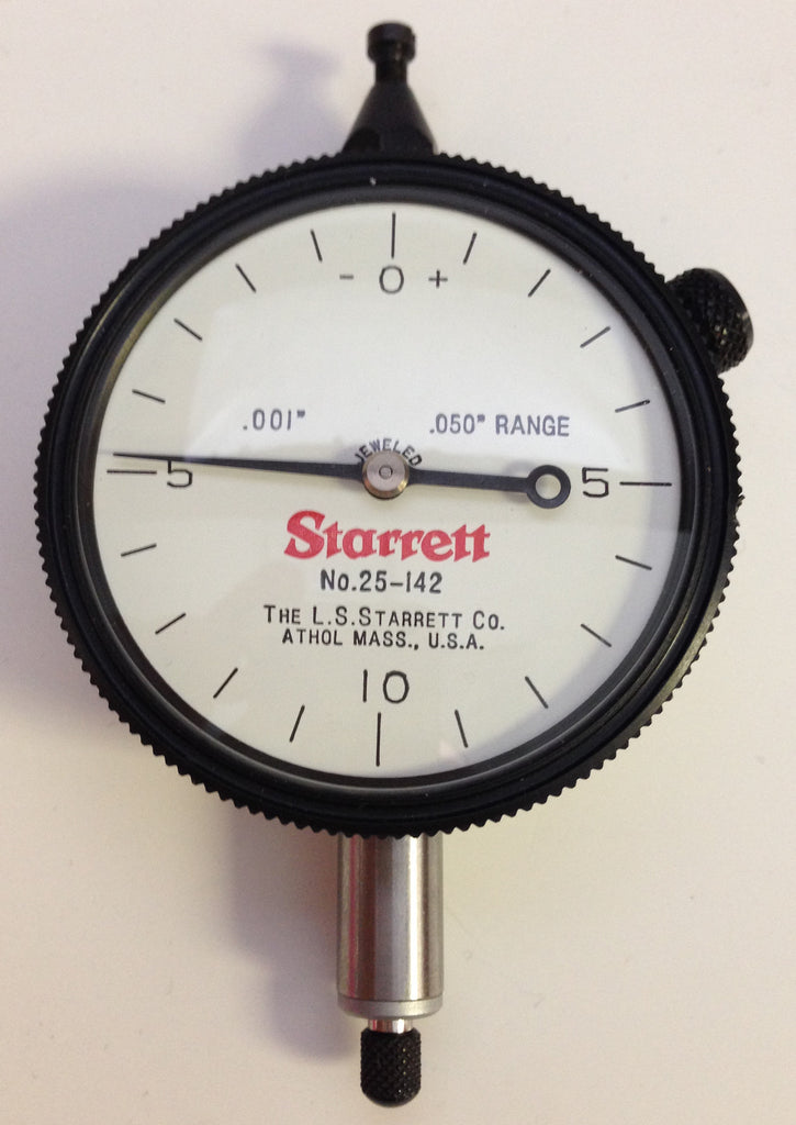 "Starrett 25-142J Group 2 Dial Indicator, 0-.050"" Range, .001"" Graduation *USED/RECONDITIONED*"