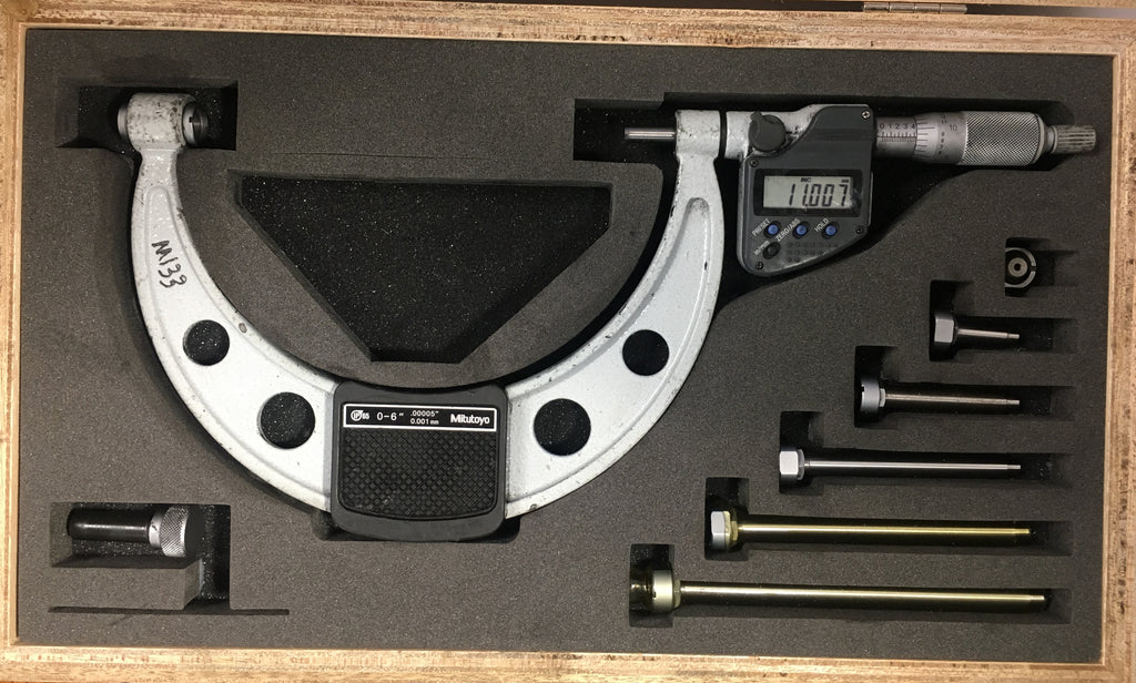 "Mitutoyo 340-351-30 Outside Micrometer w/ Interchangeable Anvils 0-6""/0-152.4mm Range, .0001""/0.001mm Resolution *USED/RECONDITIONED*"