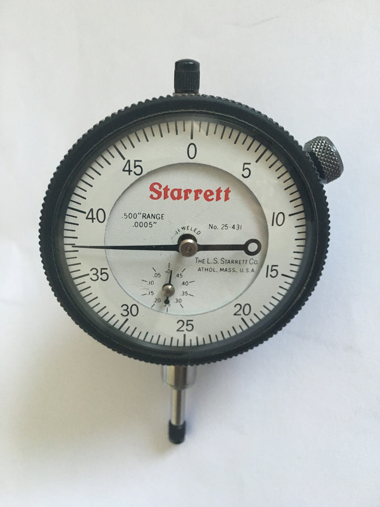 "Starrett 25-431J Group 2 Dial Indicator, 0-.500"" Range, .0005"" Graduation *USED/RECONDITIONED*"