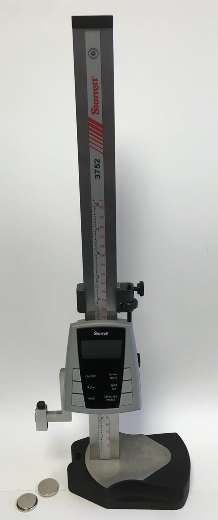 "Starrett 3752-12/300 Electronic Height Gage, 0-12""/0-300mm Range, .0005""/0.01mm Resolution *USED/RECONDITIONED*"