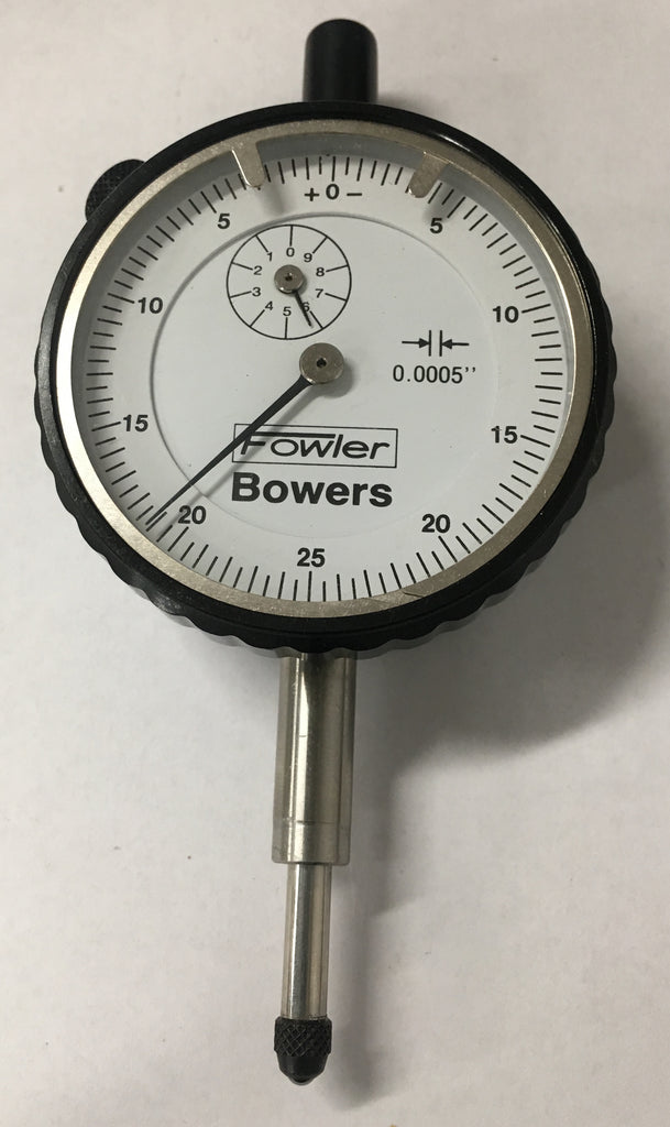 "Fowler Bowers 52-548 Dial Indicator, 0-.500"" Range, .0005"" Graduation (Black Bezel) *USED/RECONDITIONED*"