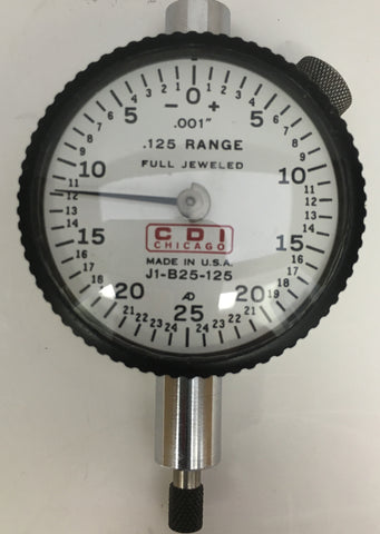 "CDI J1-B25-125 Dial Indicator, 0-.125"" Range, .001"" Graduation *USED/RECONDITIONED*"