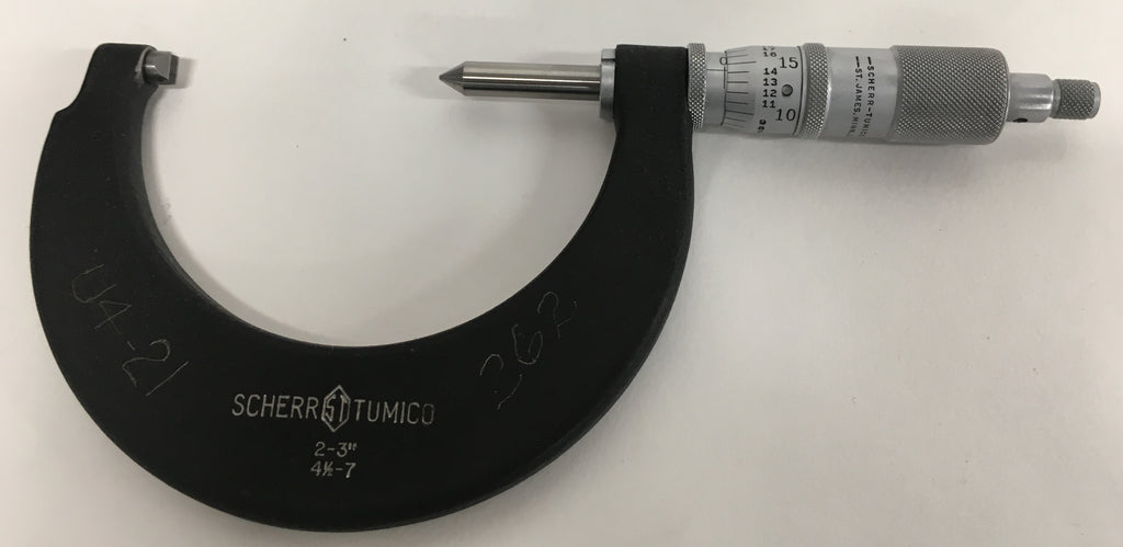 "Scherr Tumico Screw Thread Micrometer, 2-3"" Range, .001"" Graduation, 4.5-7 TPI *USED/RECONDITIONED*"