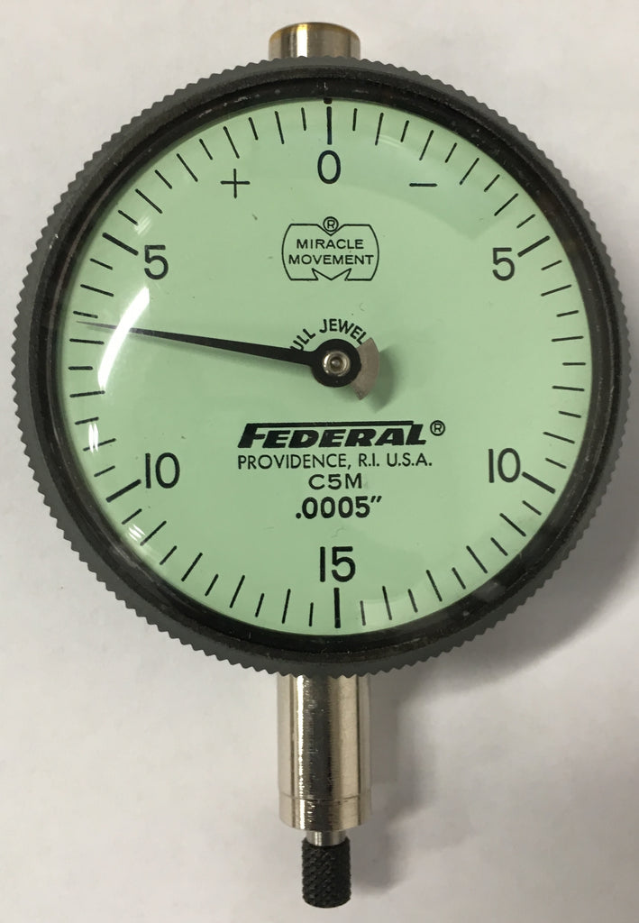 "Federal C5M Dial Indicator with Lug Back, 0-.075"" Range, .0005"" Graduation *USED/RECONDITIONED*"