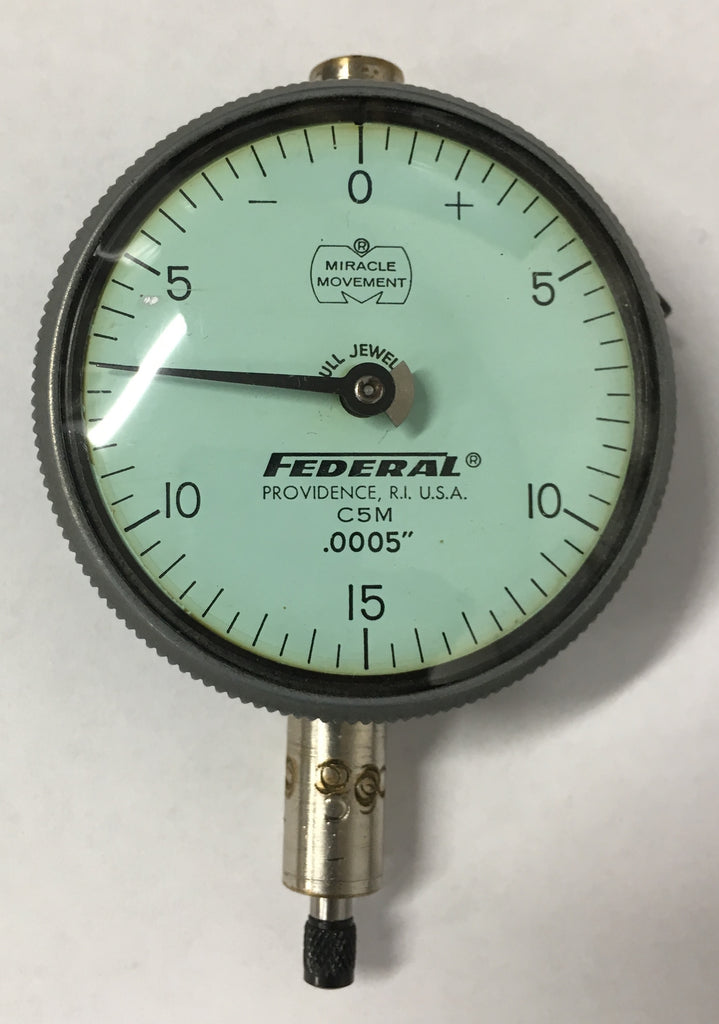 "Federal C5M Dial Indicator with Flat Back, 0-.075"" Range, .0005"" Graduation *USED/RECONDITIONED*"