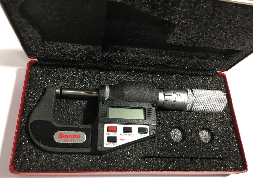 "Starrett 733XFL-1 Electronic Micrometer, 0-1""/0-25mm Range, .00005""/0.001mm Resolution *USED/RECONDITIONED*"