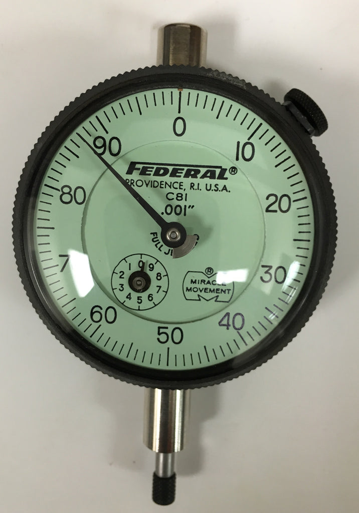 "Federal C8I Dial Indicator with Rev Counter and Flat Back, 0-.250"" Range, .001"" Graduation *USED/RECONDITIONED*"