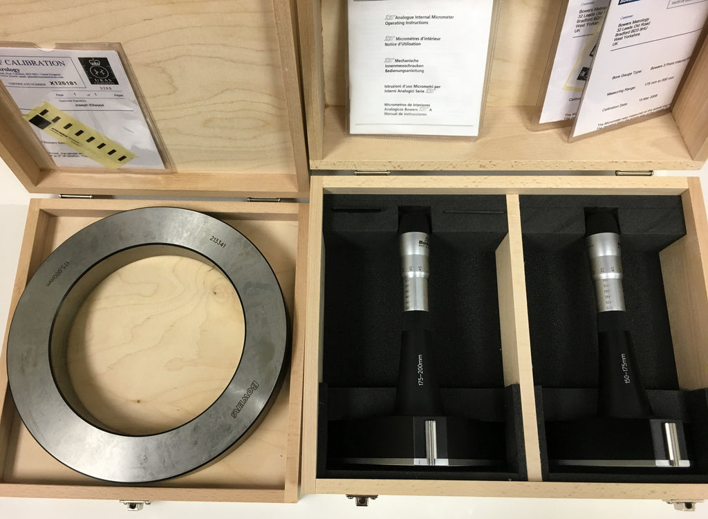 Fowler 52-255-968-0 Bowers XT Series Holmike Internal Micrometer Set, 150-200mm Range, .005mm Graduation *New-Open Box Item