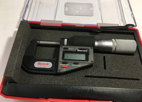 "3732XFL-1 Starrett Electronic Micrometer, 0-1""/0-25mm Range, .00005""/0.001mm Resolution *New - Open Box Item*"