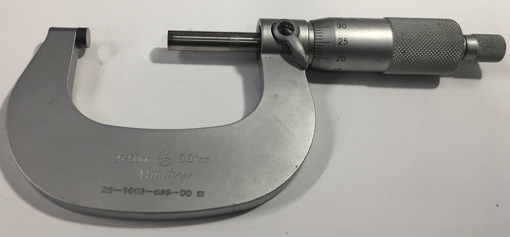 Mitutoyo 101-116 Outside Micrometer, 25-50mm Range, 0.01mm Graduation, Ratchet *USED/RECONDITIONED*