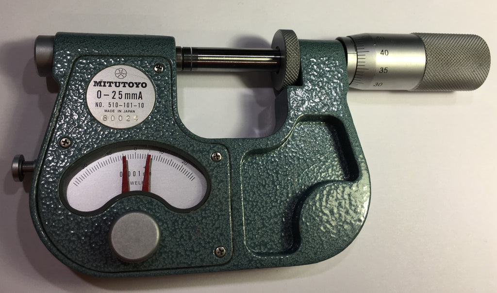 Mitutoyo 510-101-10 Indicating Micrometer, 0-25mm Range,  0.001mm Graduation *USED/RECONDITIONED*