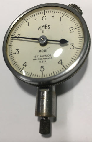 "B.C. Ames Dial Indicator with Flat Back, 0-.025"" Range, .0001"" Graduation *USED/RECONDITIONED*"